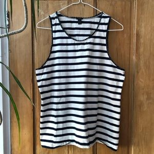 JCrew navy and white striped tank, size large